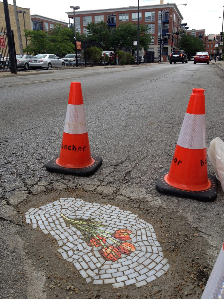 Flower Pothole Mosaics by Jim Bachor