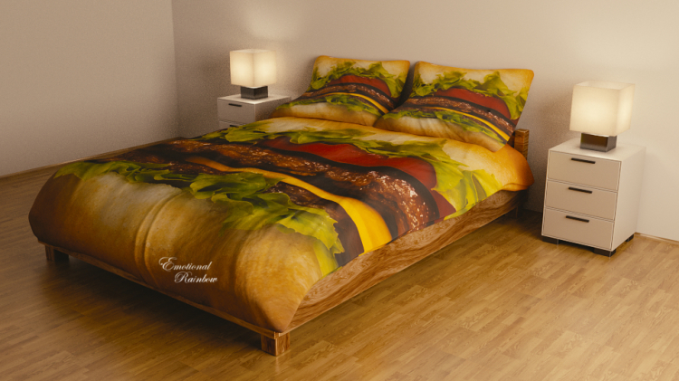 Photorealistic Pizza and Hamburger Bedding