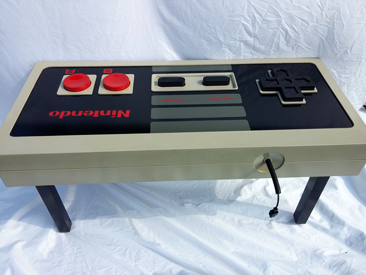 a fully functioning nintendo game controller coffee table designed