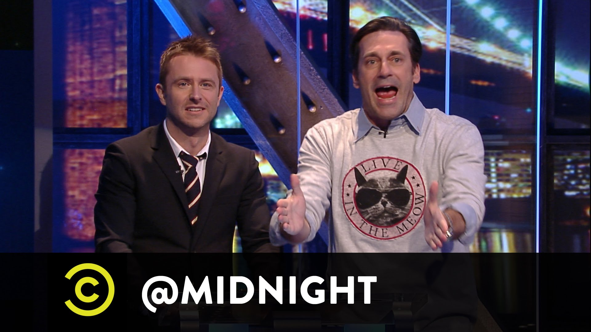 Jon Hamm Visits Chris Hardwick's 'Midnight' Game Show to Pose Questions About 'Bodega Cats'