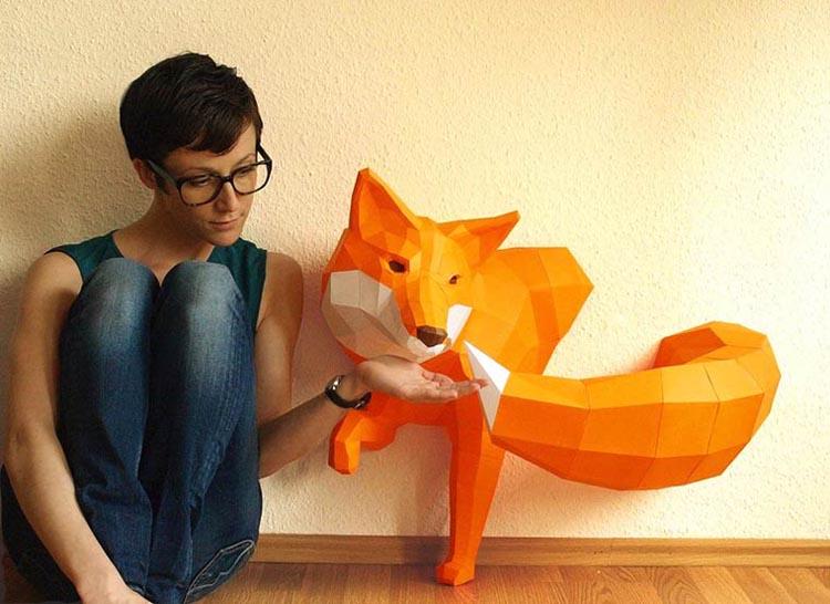 Polygonal Paper Animal Sculptures by Wolfram Kampffmeyer