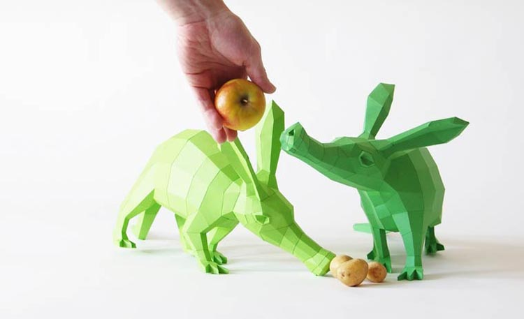 Imaginative Geometric Paper Animal Sculptures Inspired by 3D Modeling