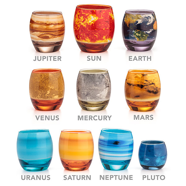 Colorful Glasses That Look Like Planets In the Solar System, Plus the Sun and Pluto