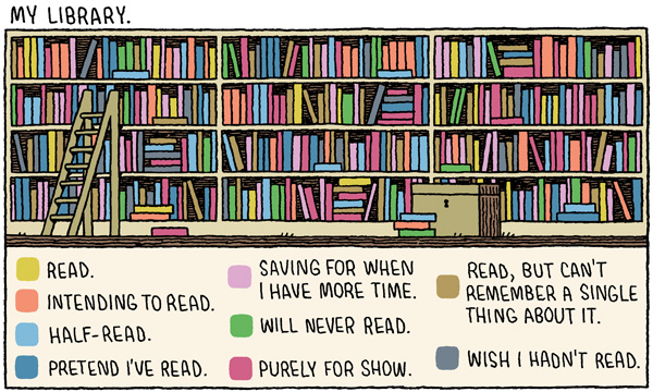 'My Library', A Clever Cartoon by Tom Gauld About the Truth Behind Book Collections