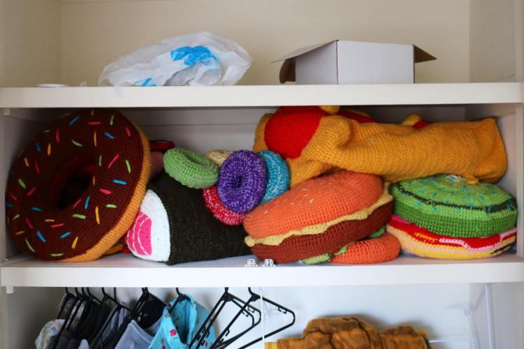 Closet Full of Crocheted Hats