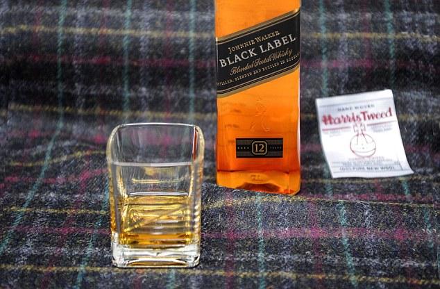 Closeup Harris Tweed Johnnie Walker