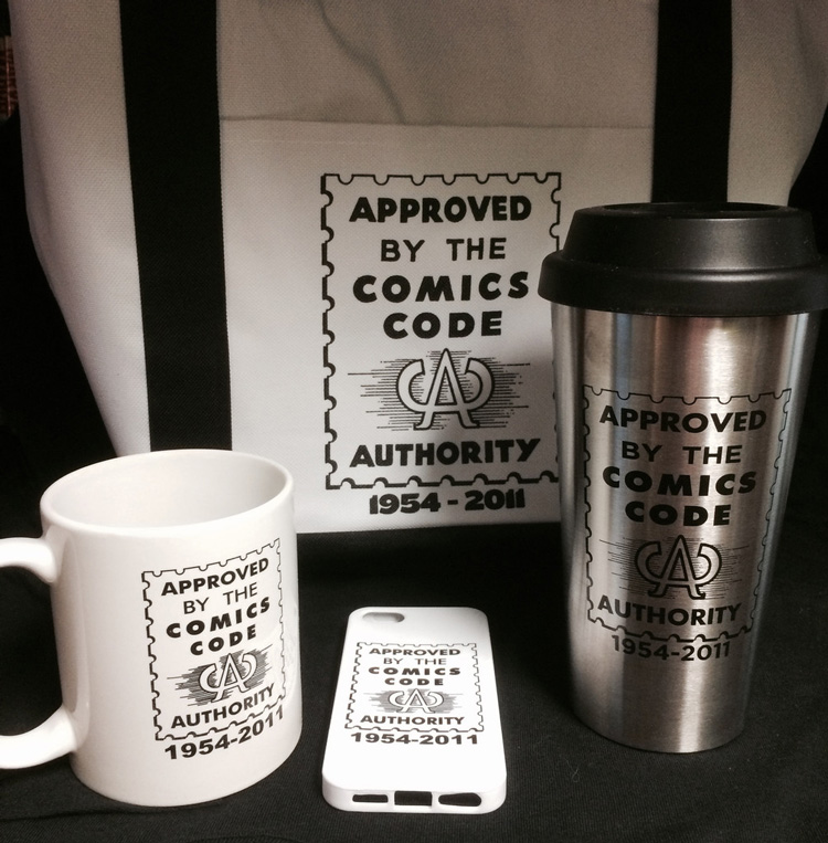 Comic Book Legal Defense Fund Merchandise Featuring the Classic Comics Code Authority Seal