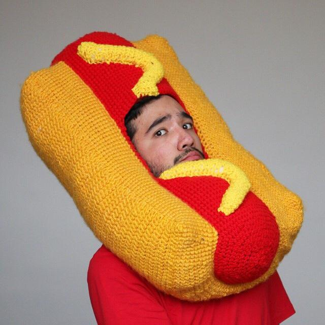Hot Dog Crocheted Hat