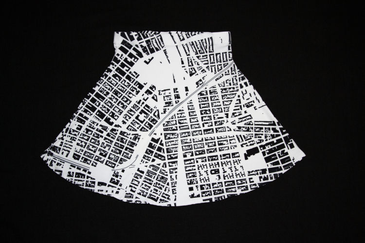 Monochome Custom Printed Maps on Clothing