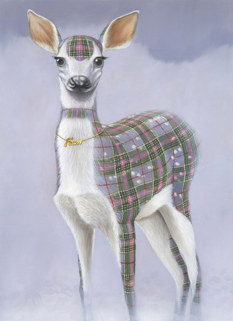 Surreal Plaid Animal Paintings by Sean Landers