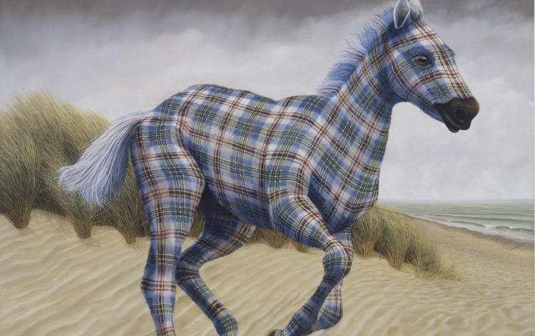 Surreal Plaid Animal Paintings by Sean Landers