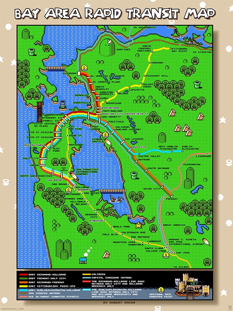 A map of san franciscos bay area rapid transit system designed in super mario world bart map gumiabroncs