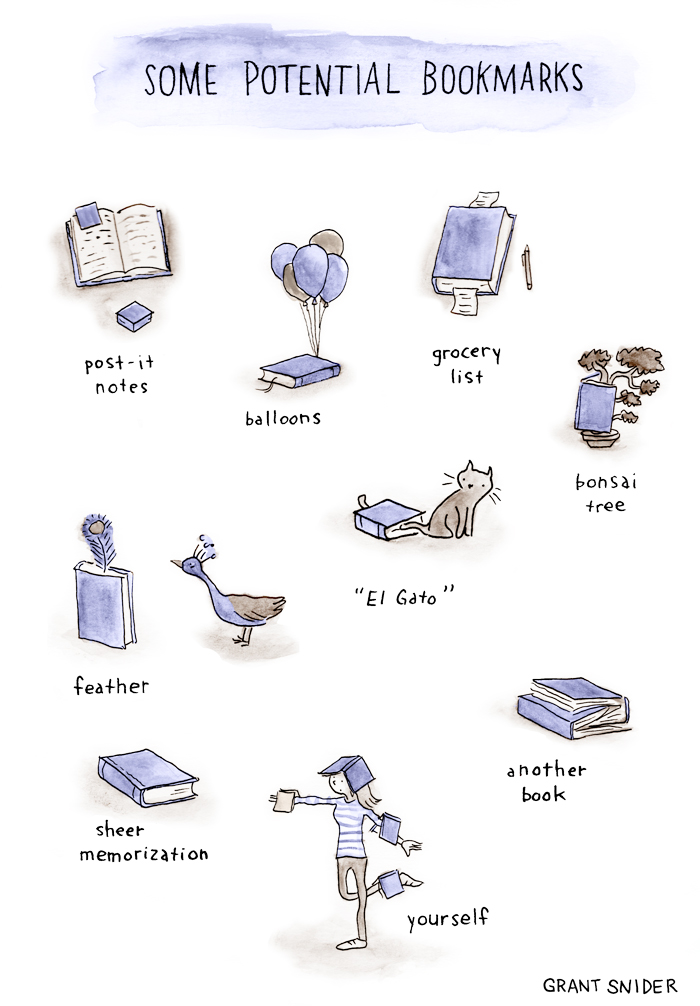 'Bookmarks', A Comic by Grant Snider About Wacky Ways to Save a Place in a Book