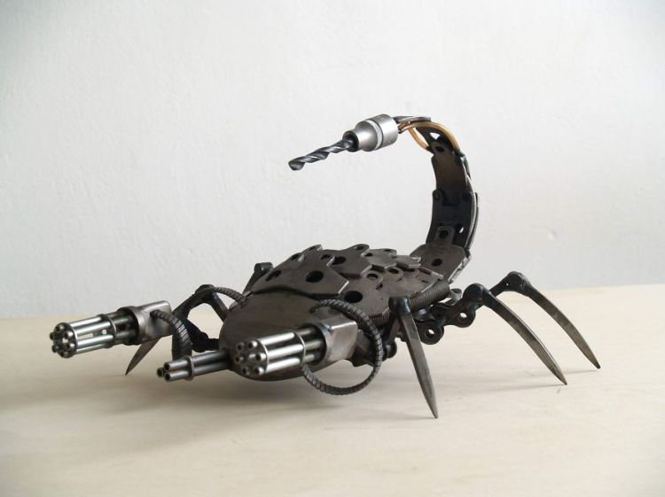 Metal Sculptures Made of Car and Motorcycle Parts by Tomas Vitanovsky