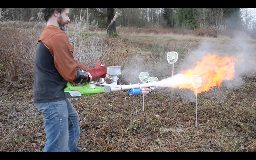 A Homemade Cornstarch Flamethrower Built Using a Leaf Blower and Propane Torch