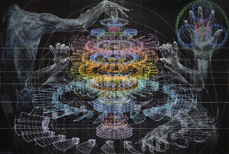Mechanical Diagram Human Figure Paintings by Atsushi Koyama