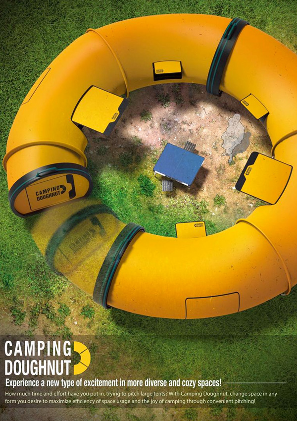 Camping Doughnut, Collapsible Tubular Structures Designed to Replace Traditional Tents