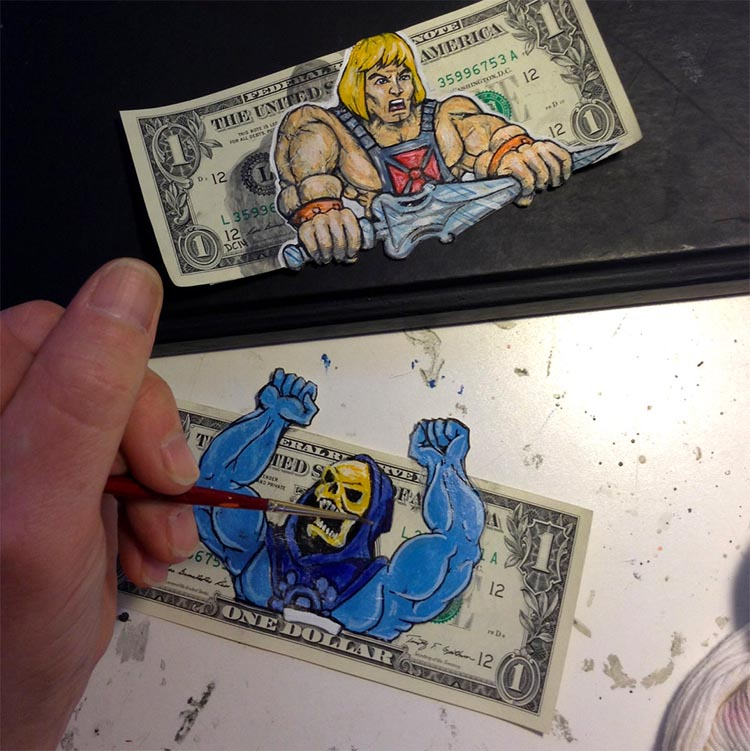 Characters on Dollars Bills by Donovan Clark