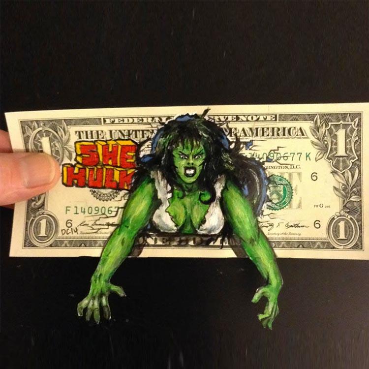 Characters on Dollars Bills by Donovan Clark