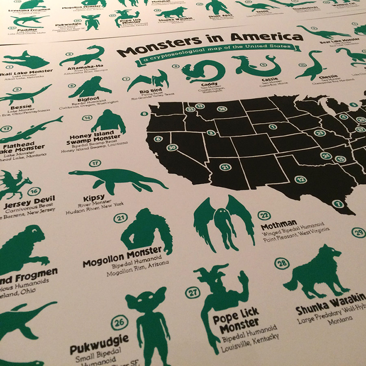 Monsters in America, A Cryptozoological Map Featuring
