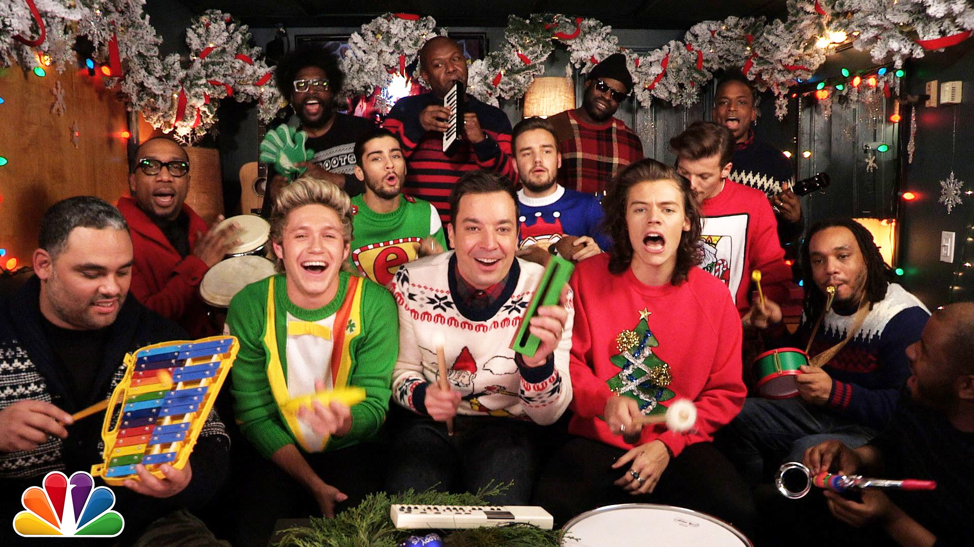 Jimmy Fallon, One Direction, and The Roots Play 'Santa Claus Is ...
