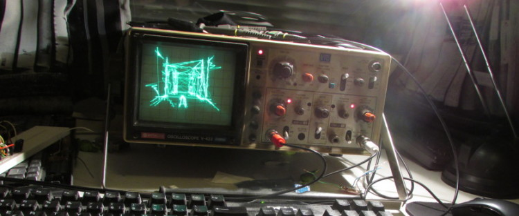Quake Played on Oscilloscope