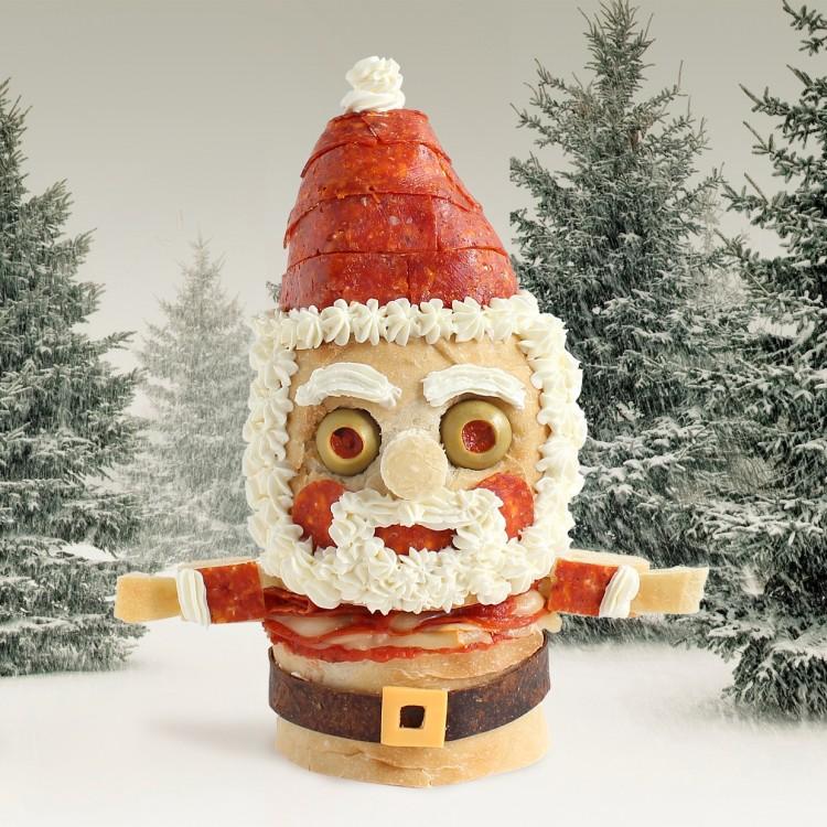 Edible Sandwich Sculpture of Santa Claus