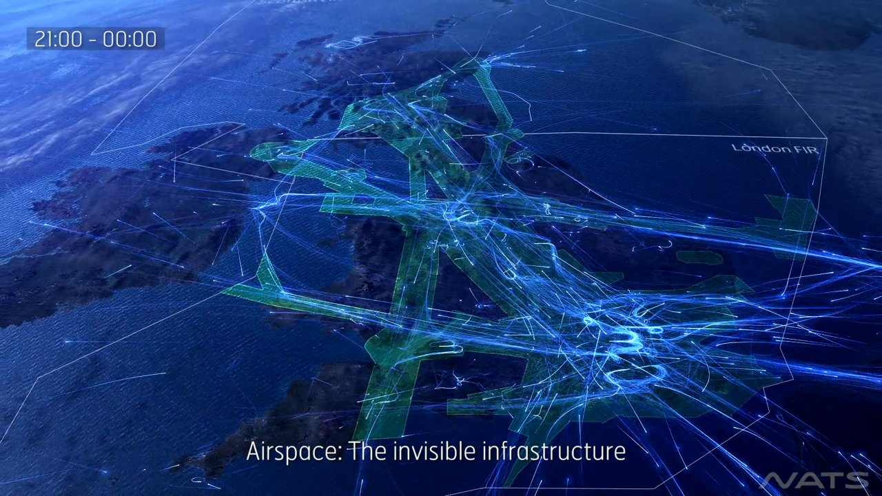 'UK 24', A Stunning Visualization Of Air Traffic Over The