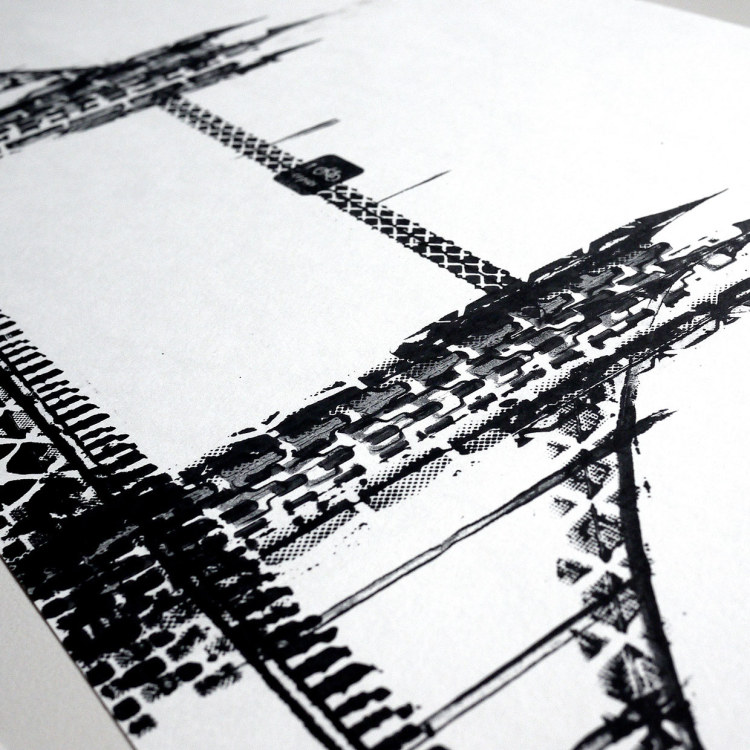 City Illustrations Made With Bicycle Tire Tracks by Thomas Yang