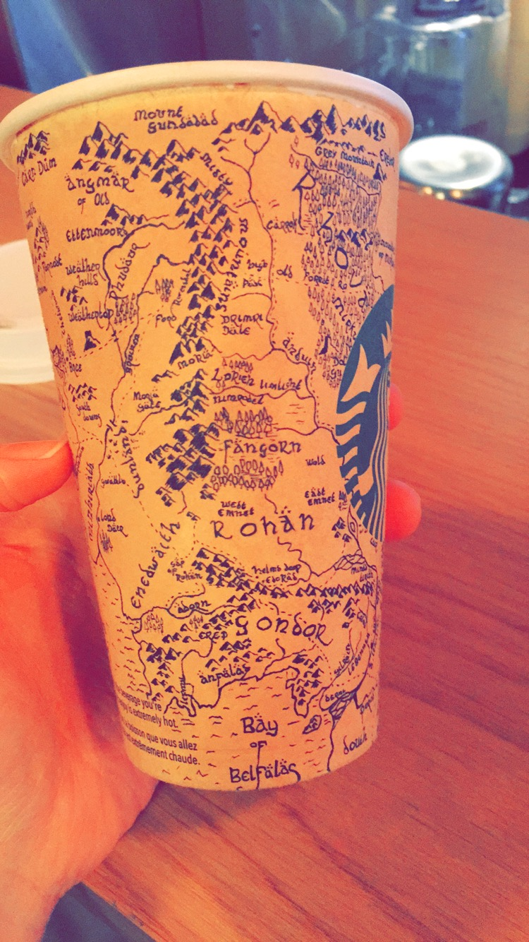 Starbucks Customer Draws a Detailed Map of Middle-Earth From 'The Lord of the Rings' & 'The Hobbit' on a Coffee Cup