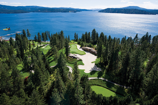 Floating Green at Coeur d'Alene Resort Golf Course