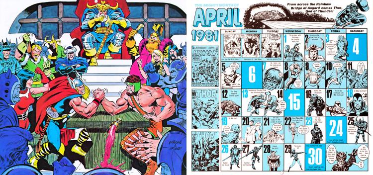 marvel comics calendar