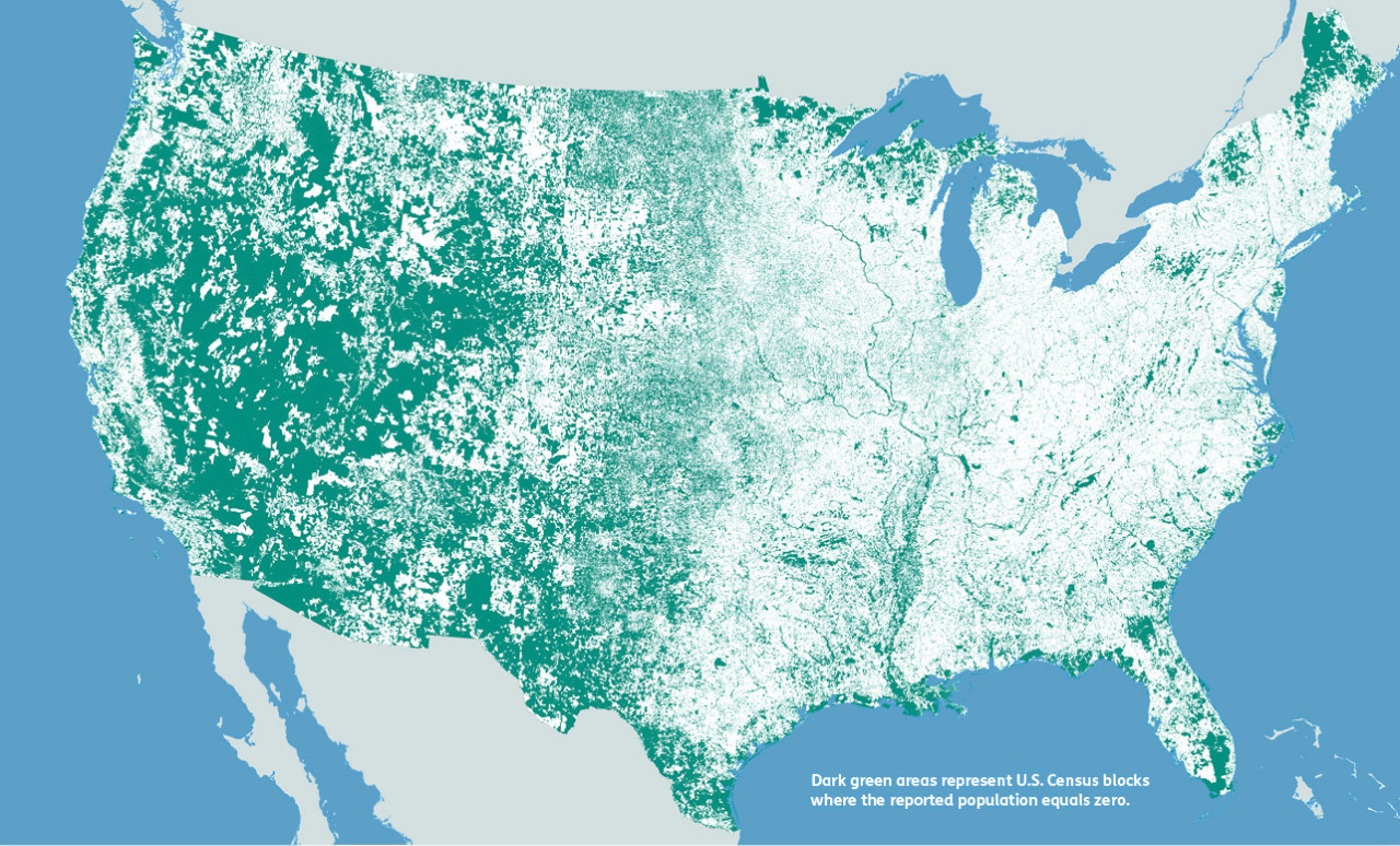 Nobody Lives Here A Fascinating Map Of The Many Areas In The United