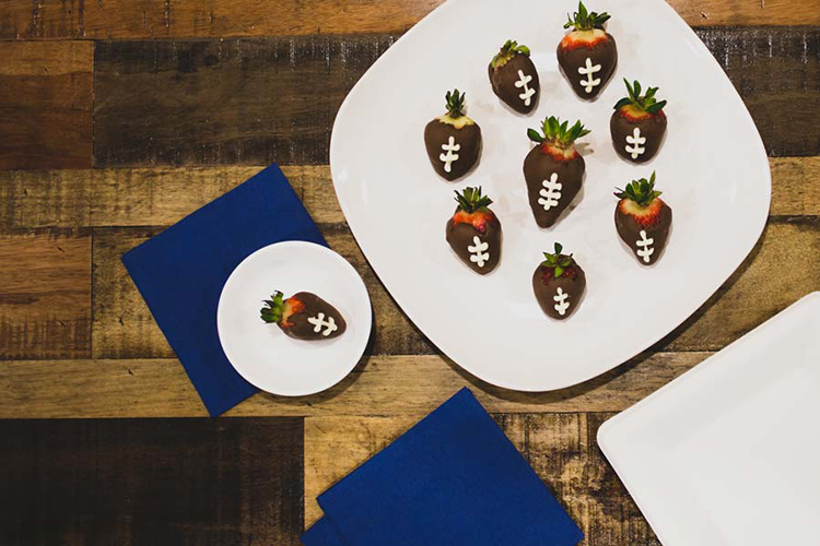 Chocolate-Dipped Strawberry Footballs