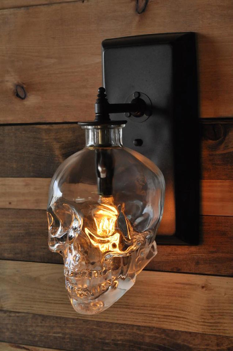 Wall Sconces Etsy : Lighting Expert Creates a Spooky Skull Wall Sconce From Recycled Crystal Head Vodka Bottles
