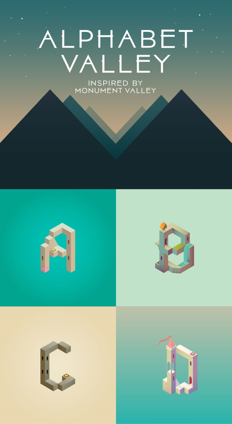 Alphabet Valley, An Illustrated Alphabet Inspired by the Design of the Puzzle Video Game 'Monument Valley'