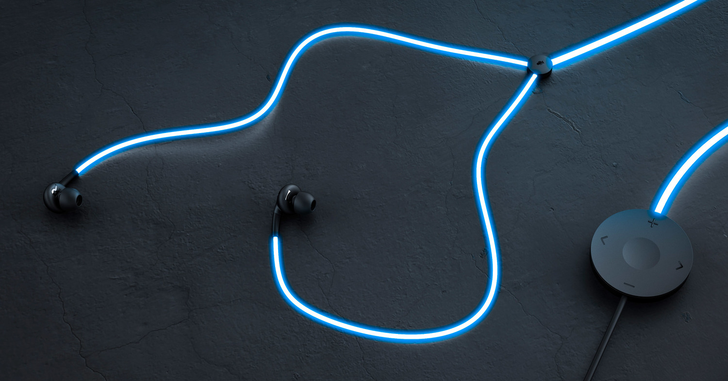 Glow In Ear Headphones With A Cable That Lights Up To
