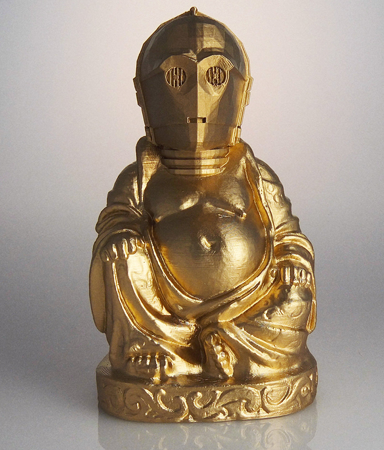 3D-Printed Buddha Sculptures That Look Like Pop Culture Characters From Video Games, Movies, TV Shows, and Comics