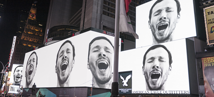 Man Yawning Video in Times Square