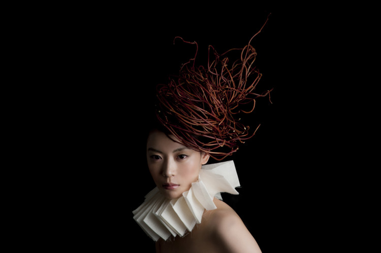 Sculptural Headdresses Made of Flowers And Other Natural Materials