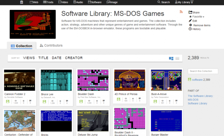 The Internet Archive Adds Nearly 2,400 MS-DOS Video Games for