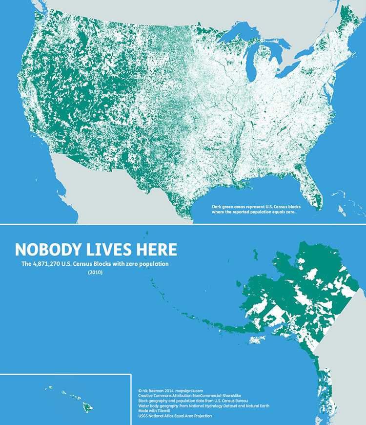 Nobody Lives Here A Fascinating Map Of The Many Areas In The - Us population map 2015