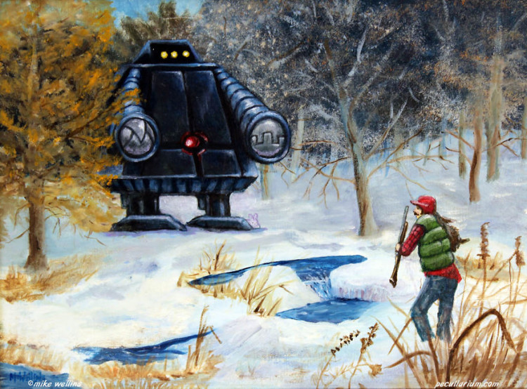 Altered Thrift Store Paintings by Mike Wellins