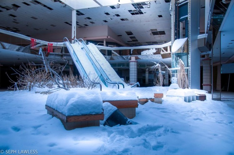 Snow Inside an Abandoned Mall Photos by Seph Lawless