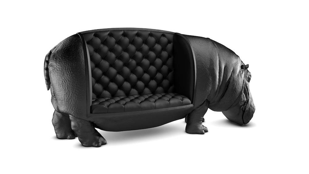 The Hippopotamus Chair, A Massive Black Chair Shaped Like a Life-Sized Adult Male Hippo