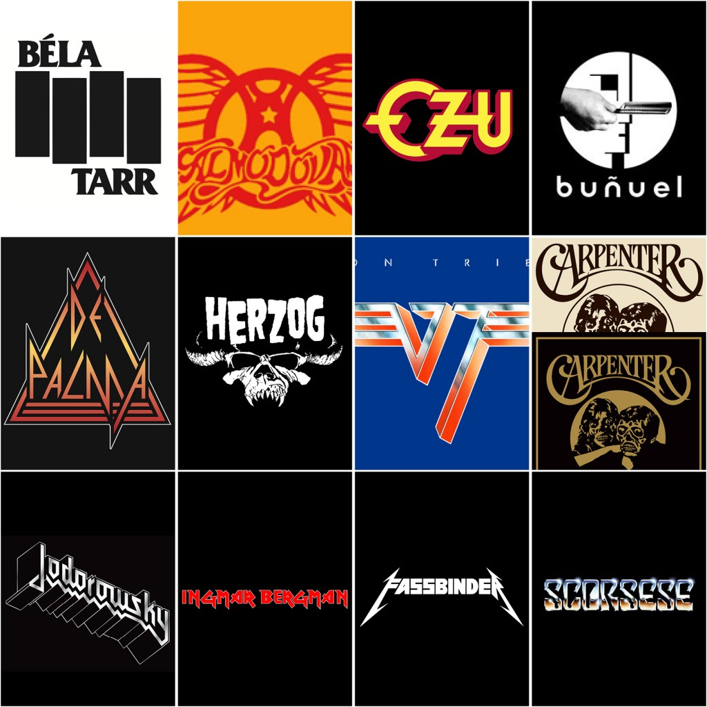 'Cinemetal', Concert-Style T-Shirts Featuring the Names of Famous Filmmakers as Recognizable Band Logos