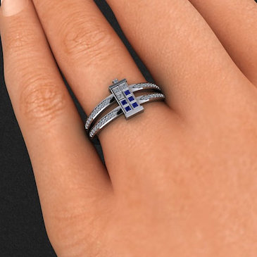 Double Banded Diamond TARDIS Ring