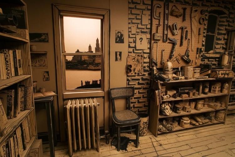 Life Size Cardboard Model of an Artist's Studio