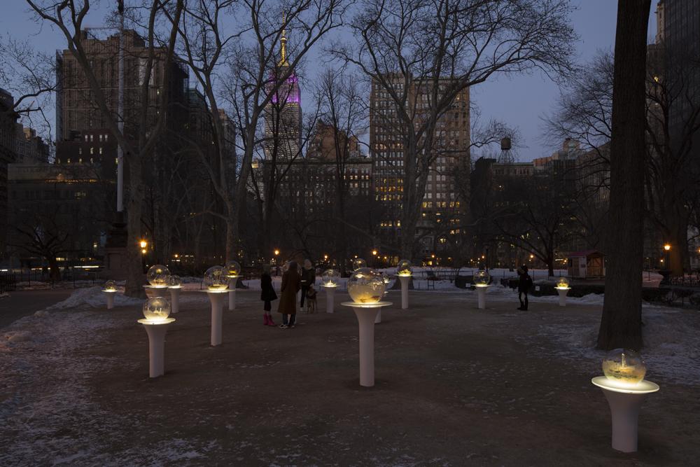 'Gazing Globes', Illuminated Fiberglass Spheres on Outdoor Display in New York City's Madison Square Park