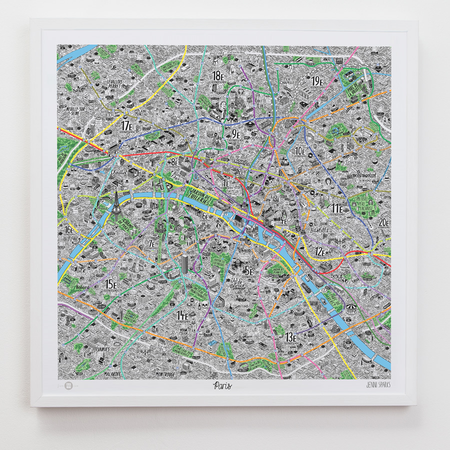 A Hyper-Detailed Hand-Drawn Map of Paris by Jenni Sparks
